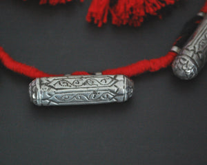 Rajasthani Silver Taviz Cotton Necklace