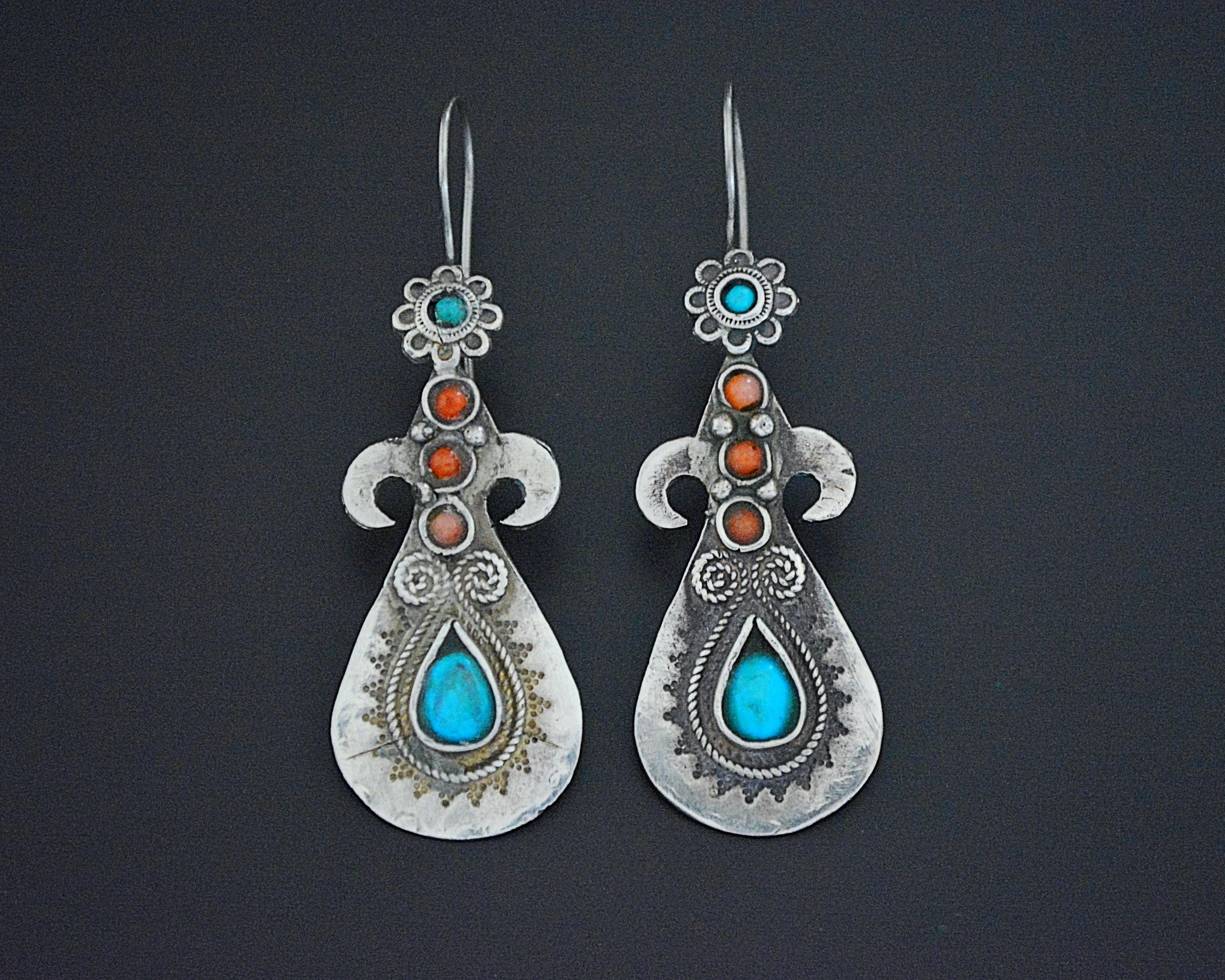 Pretty Uzbek Turquoise and Coral Earrings