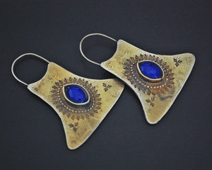 Ethnic Gilded Lapis Lazuli Earrings with Engravings