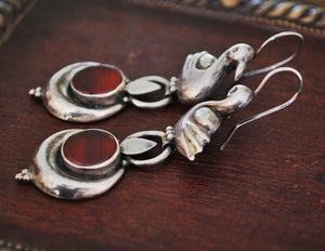 Indian Carnelian Earrings with Swan