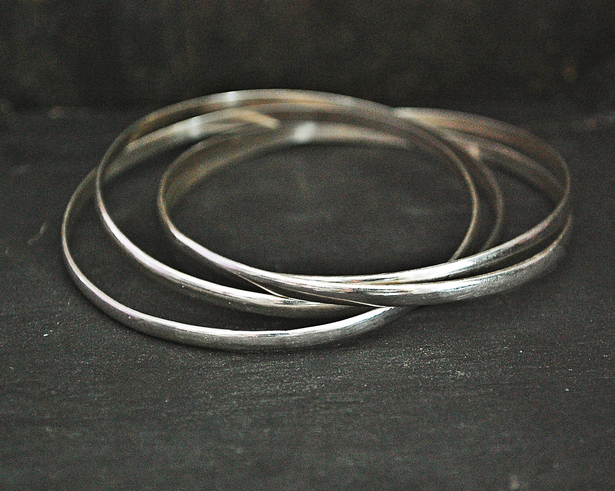 Interlocked Sterling Silver Bangle Bracelets