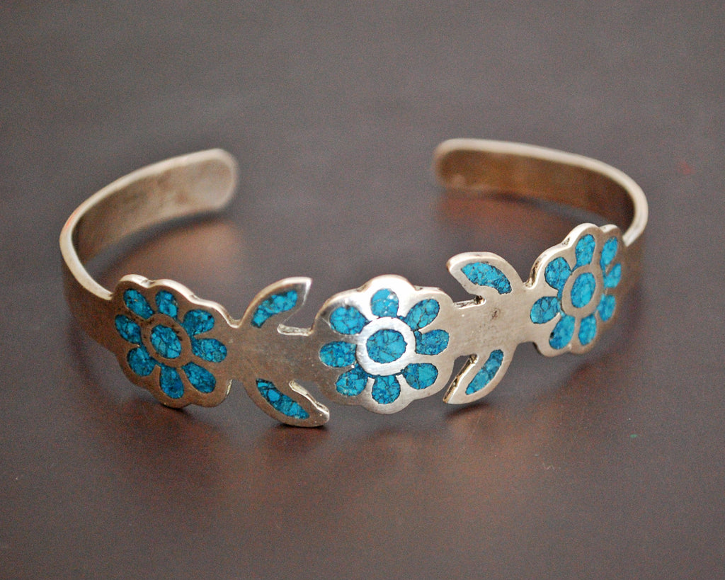 Vintage Mexican Turquoise Chip Inlay Cuff Bracelet - SMALL