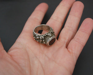 Antique Yemeni Bedouin Ring with Arabic Inscriptions - Size 7.5