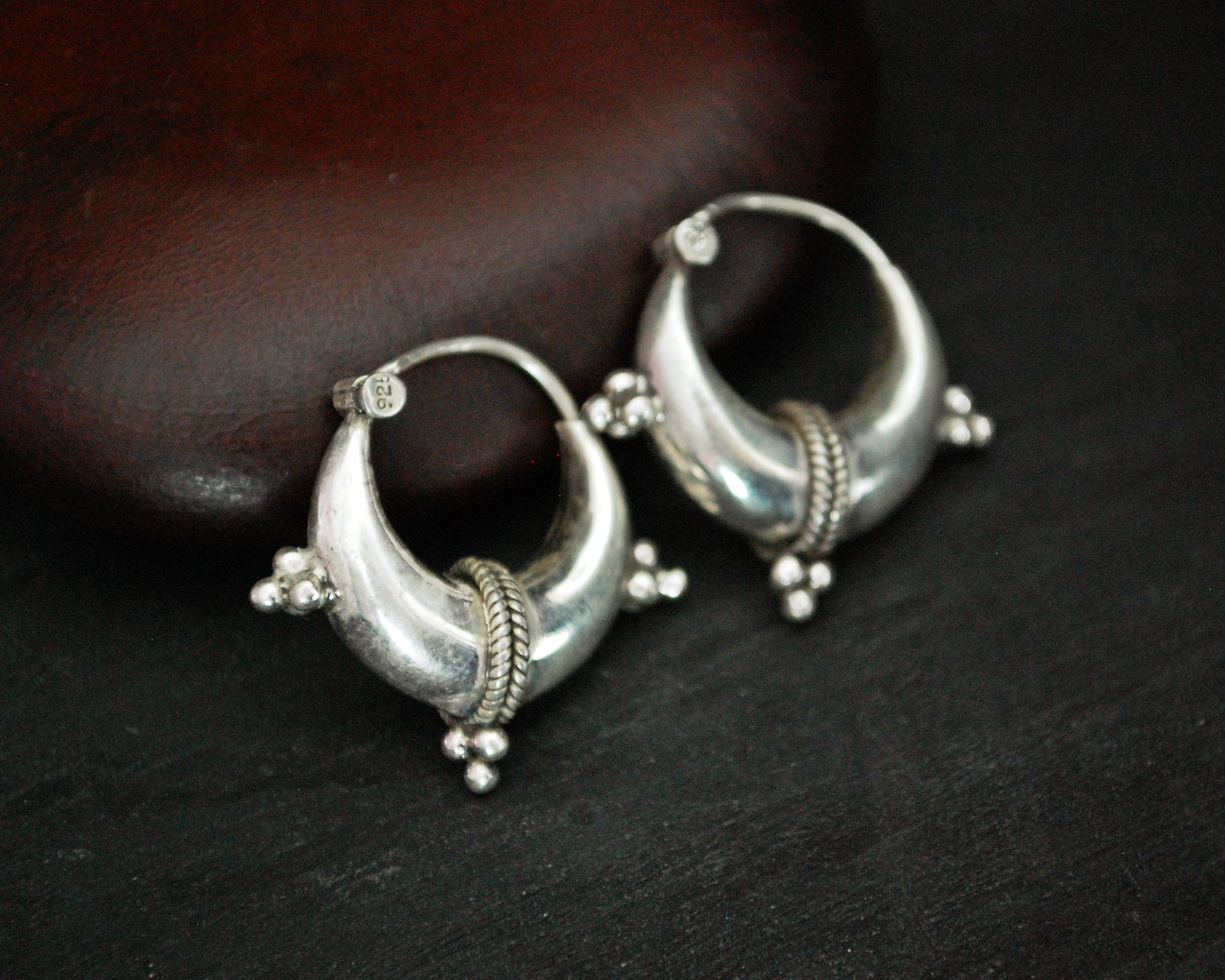 Ethnic Hoop Earrings - SMALL - Sterling Silver Hoop Earrings