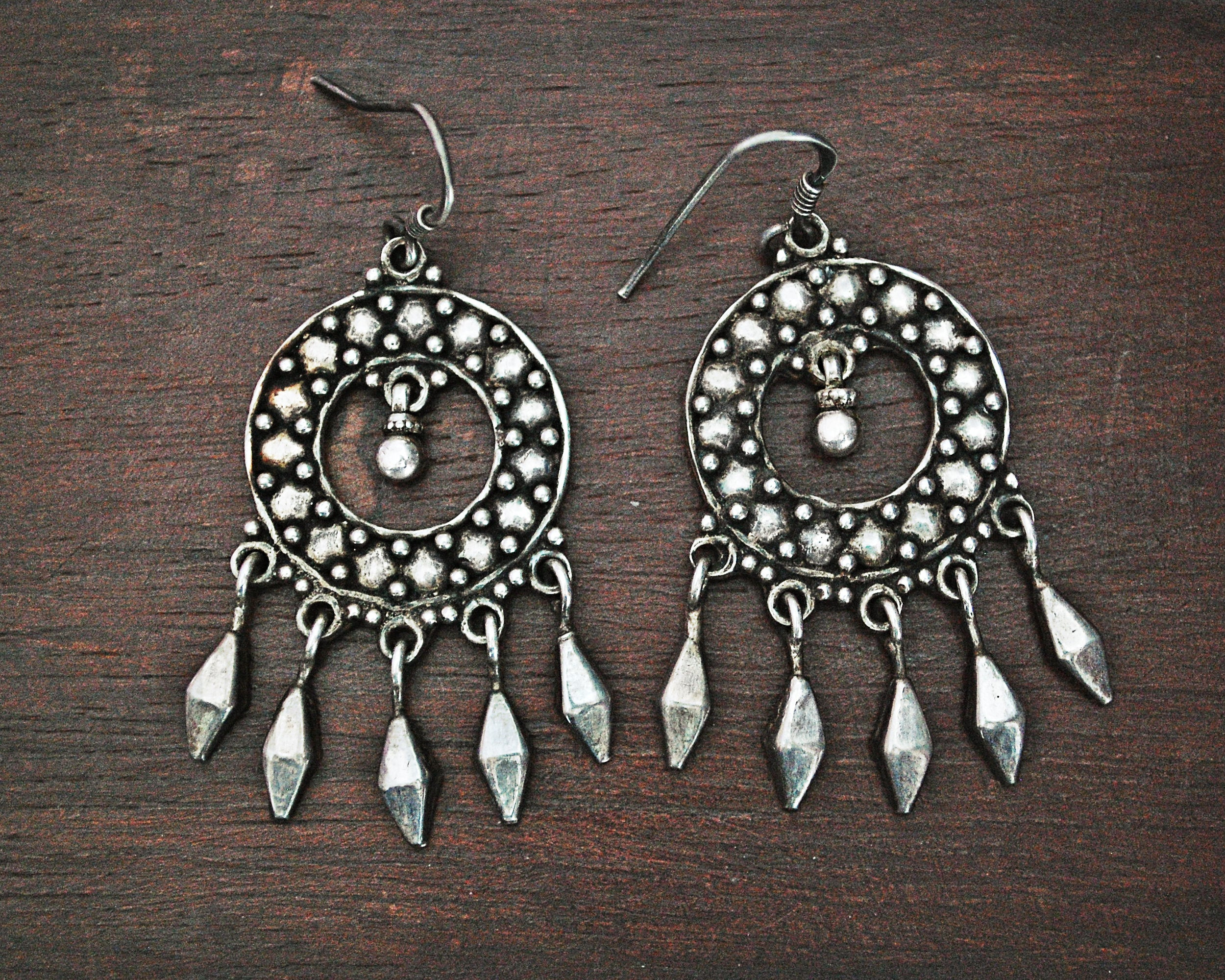 Rajasthani Silver Earrings with Tassels