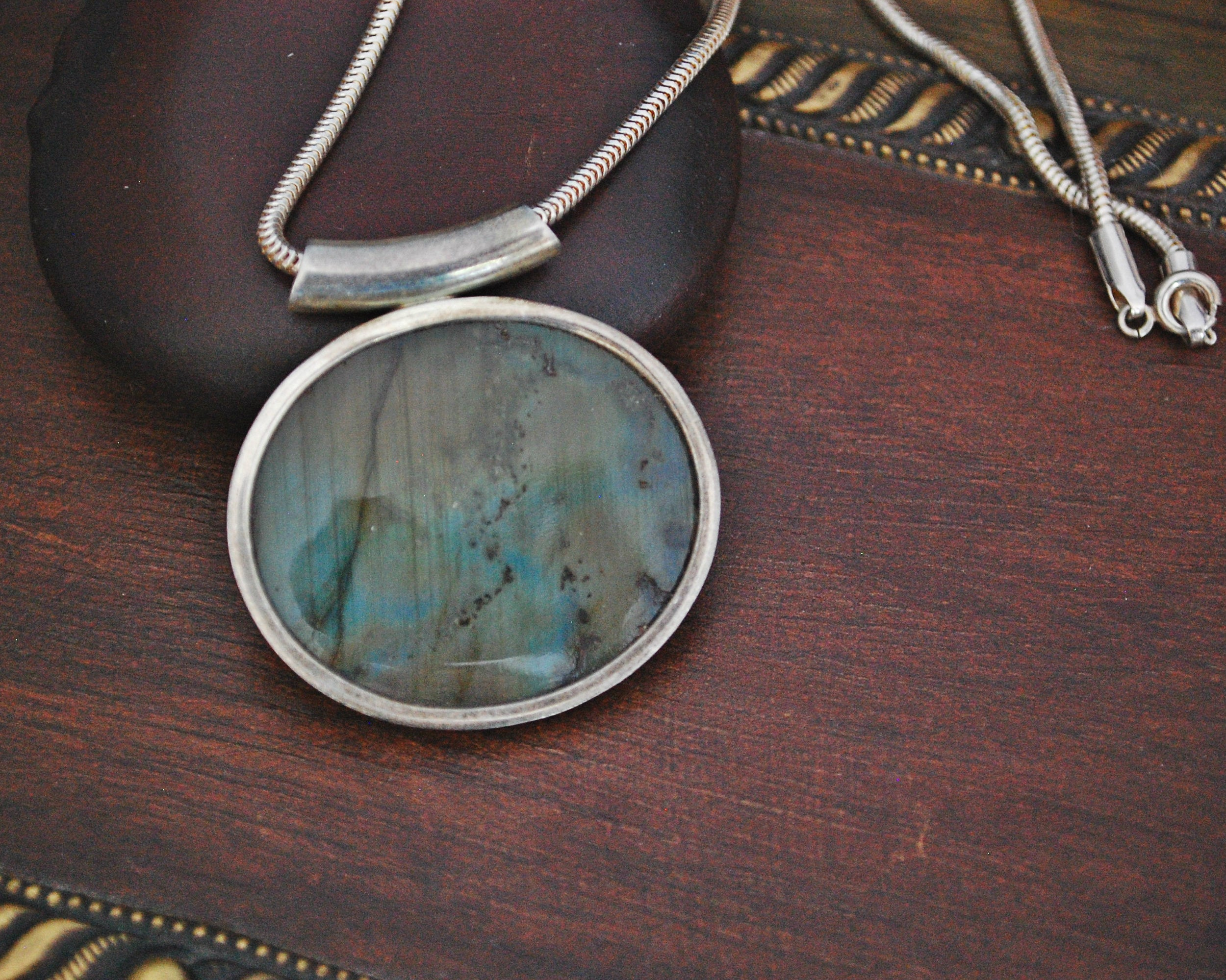 Labradorite Pendant on Snake Chain
