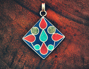 Ethnic Multistone Inlay Pendant from India