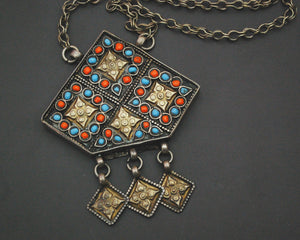 Uzbek Gilded Box Necklace with Dangles