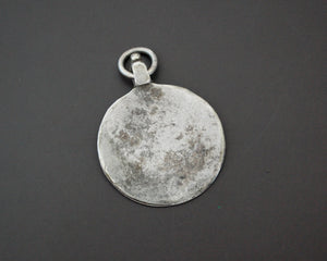 Indian Tribal Silver Disc Pendant with Flower on the Bale