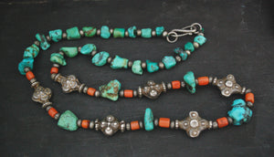 Antique Ladakh Coral Turquoise Necklace