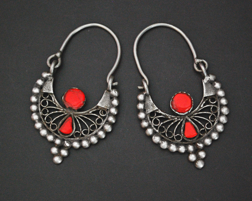 Filigree Afghani Hoop Earrings with Glass - Small