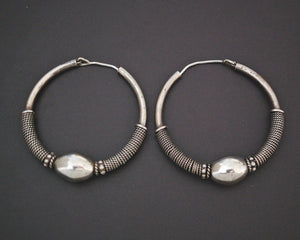 Large Ethnic Bali Hoop Earrings with Wire Work and Bead