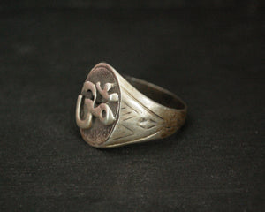 Om Silver Ring from India - Size 9.5