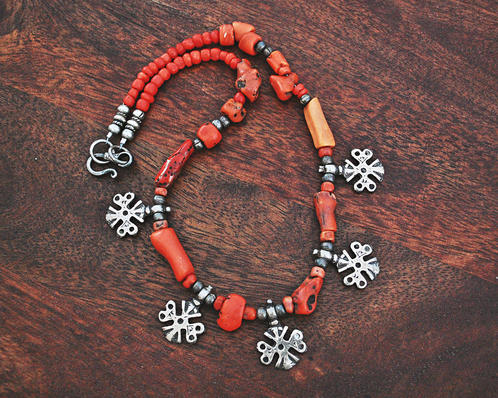 Berber Charms Coral Necklace with Silver Beads