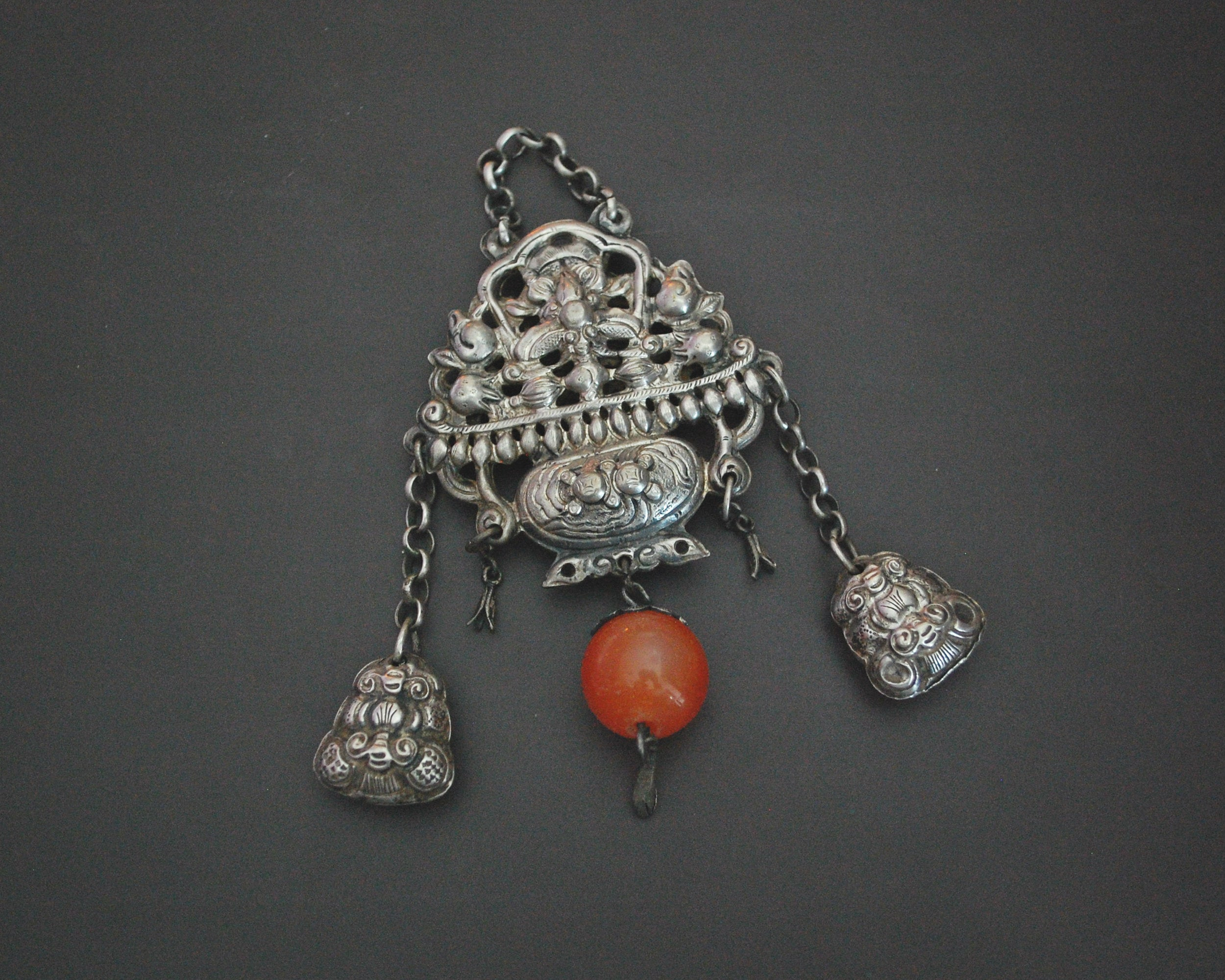 Antique Chinese Chatelaine with Carnelian