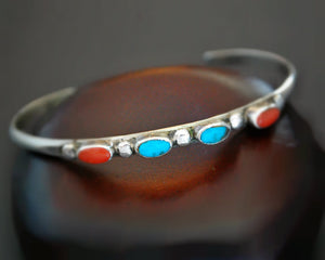 XSmall Ethnic Turquoise Coral Cuff Bracelet