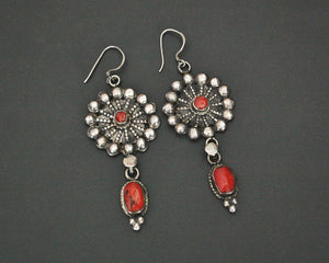 Ethnic Coral Earrings from Nepal