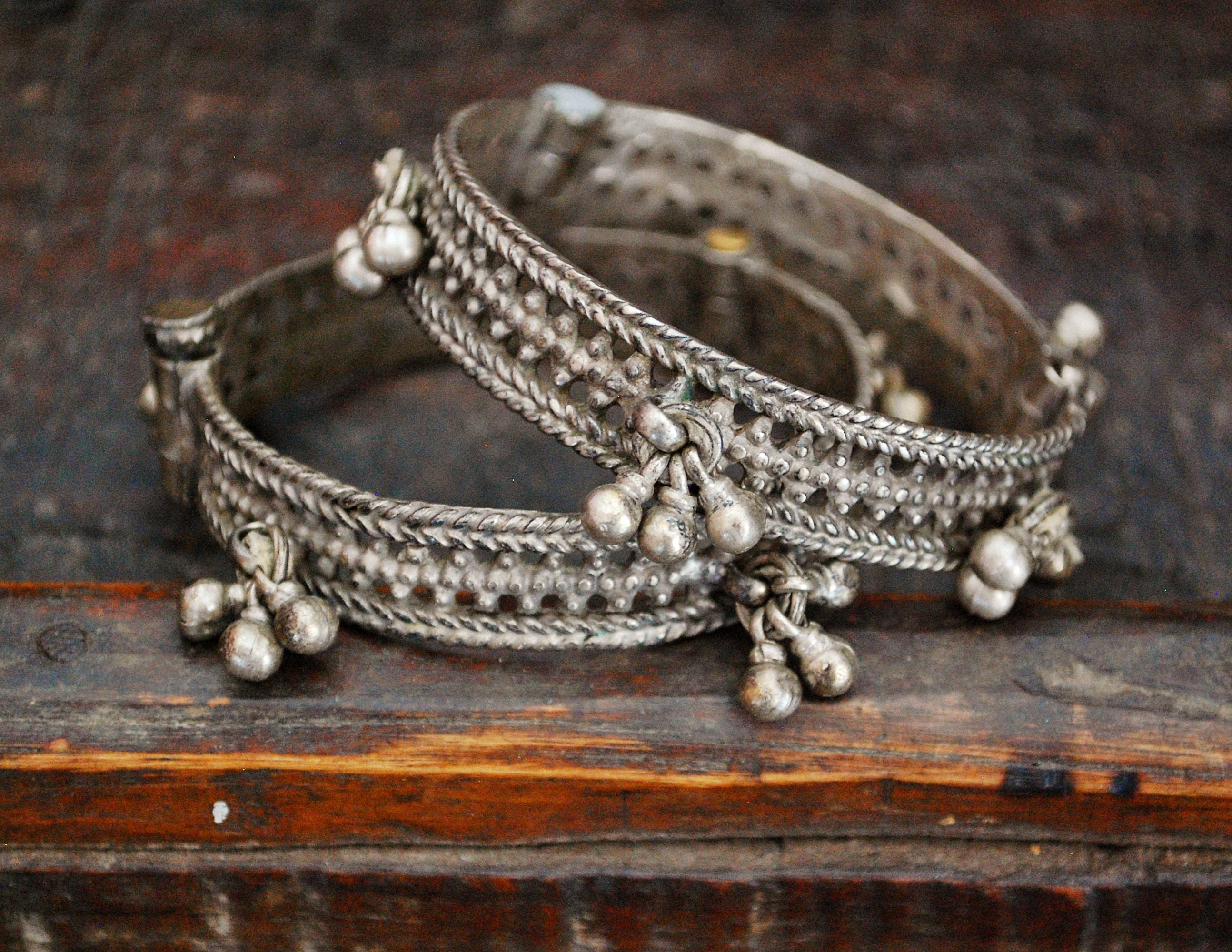 Rajasthani Bangle Bracelet with Bells - Set of Two