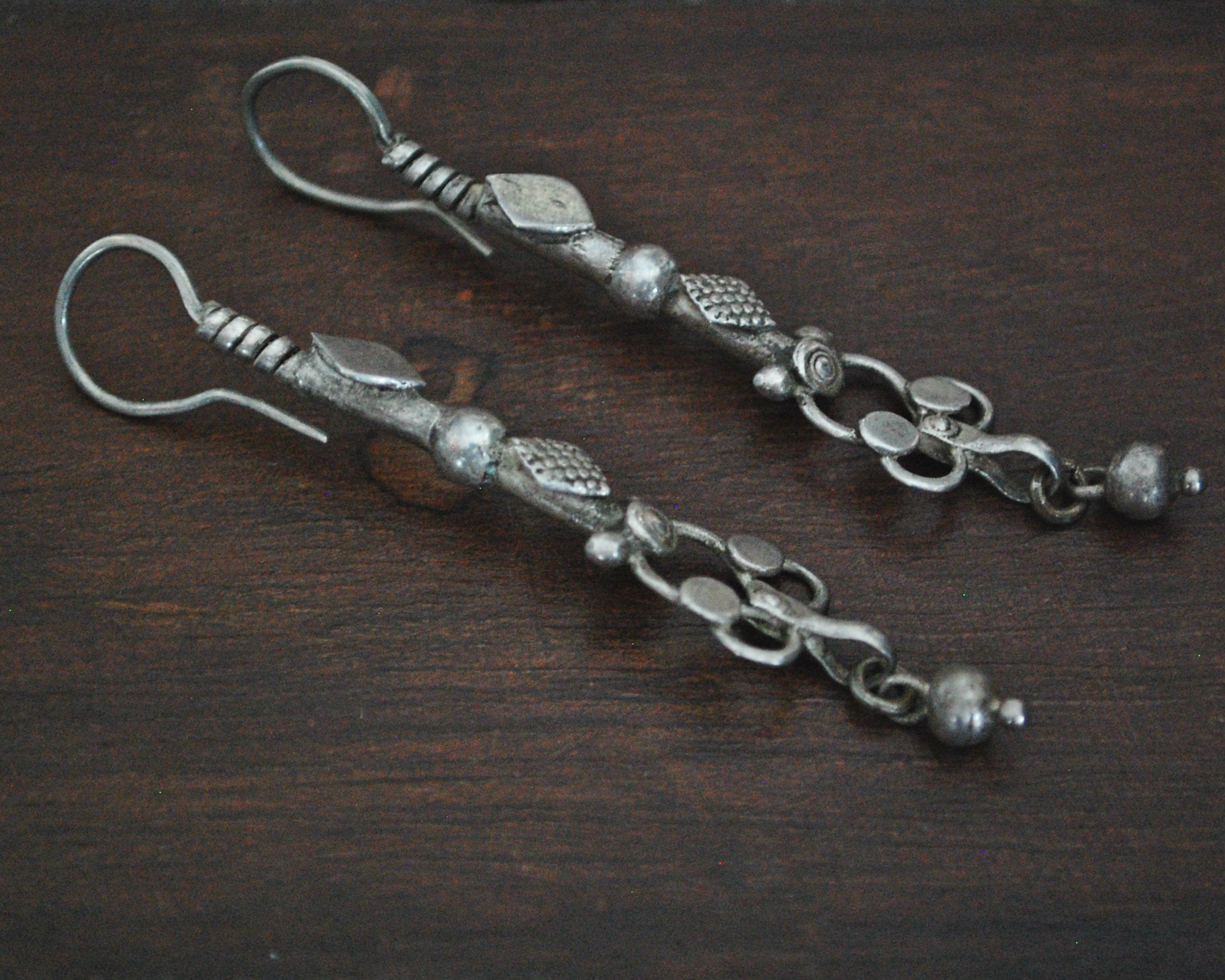 Antique Afghani Silver Earrings with Dangle