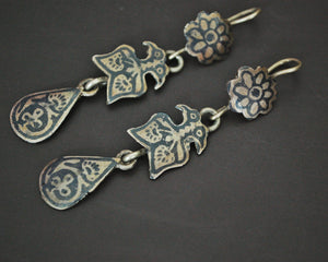 Vintage Kuchi Niello Earrings from Afghanistan Pakistan