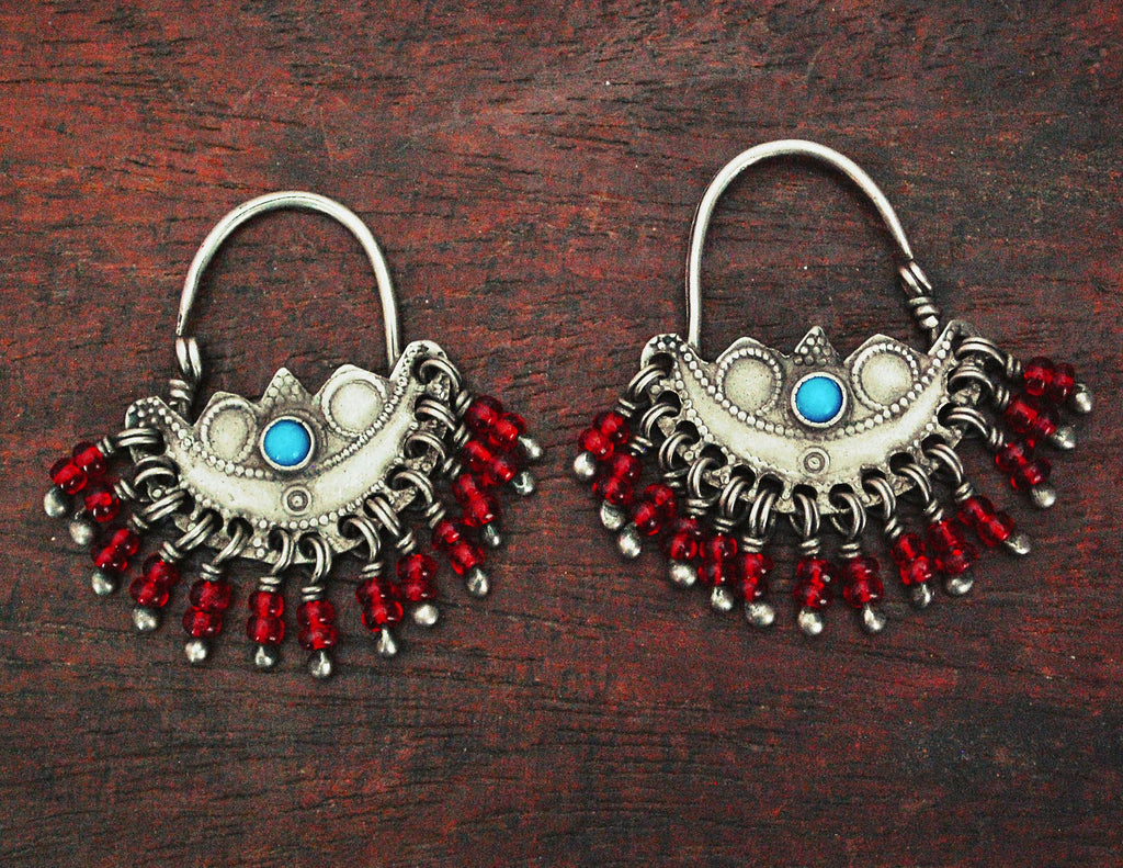 Antique Afghani Hoop Earrings with Turquoise and Glass