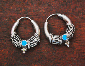 Bali Hoop Earrings with Turquoise - Small