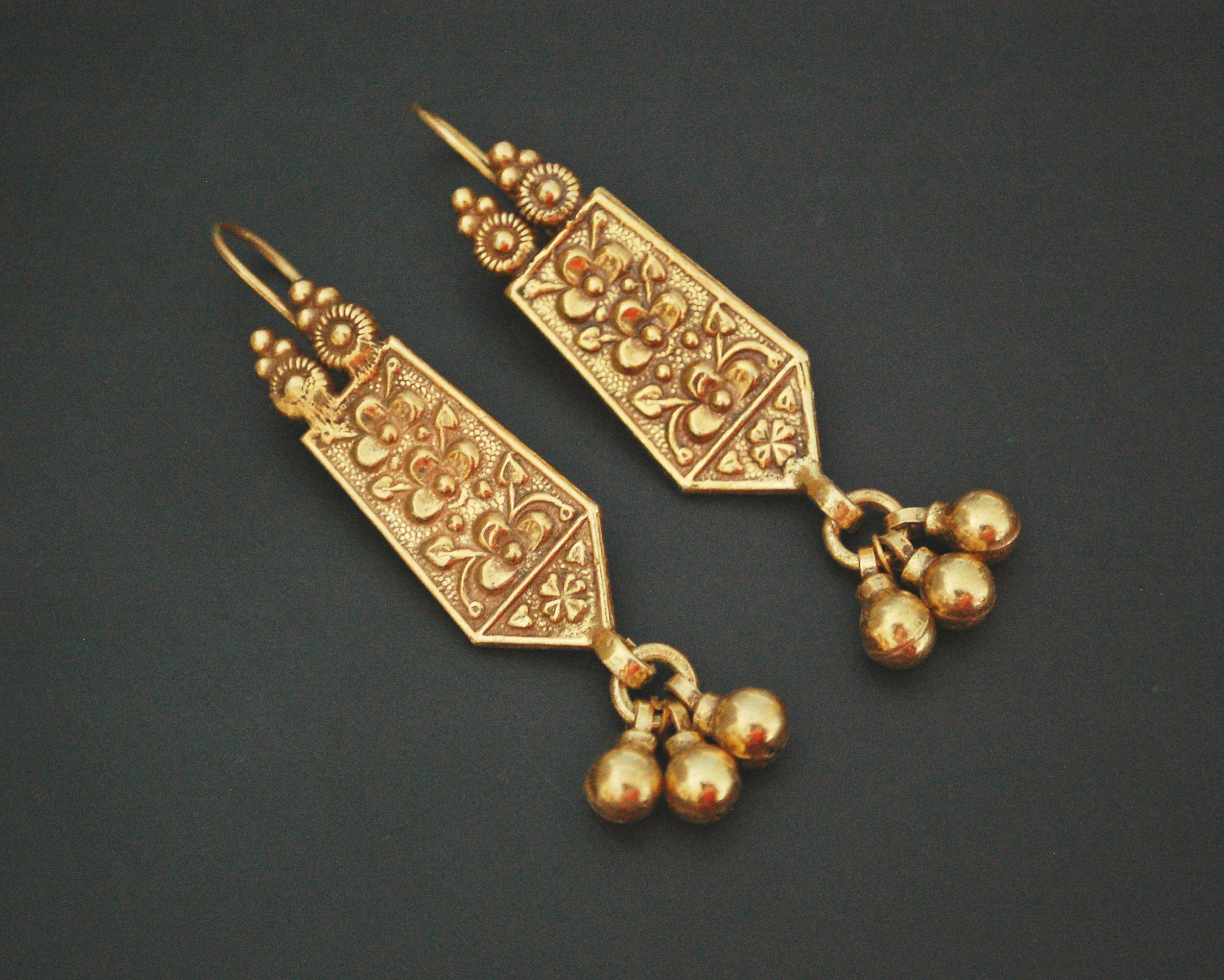Gilded Earrings from India Rajasthan with Bells