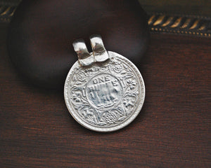 Antique Indian One Rupee Coin Pendant