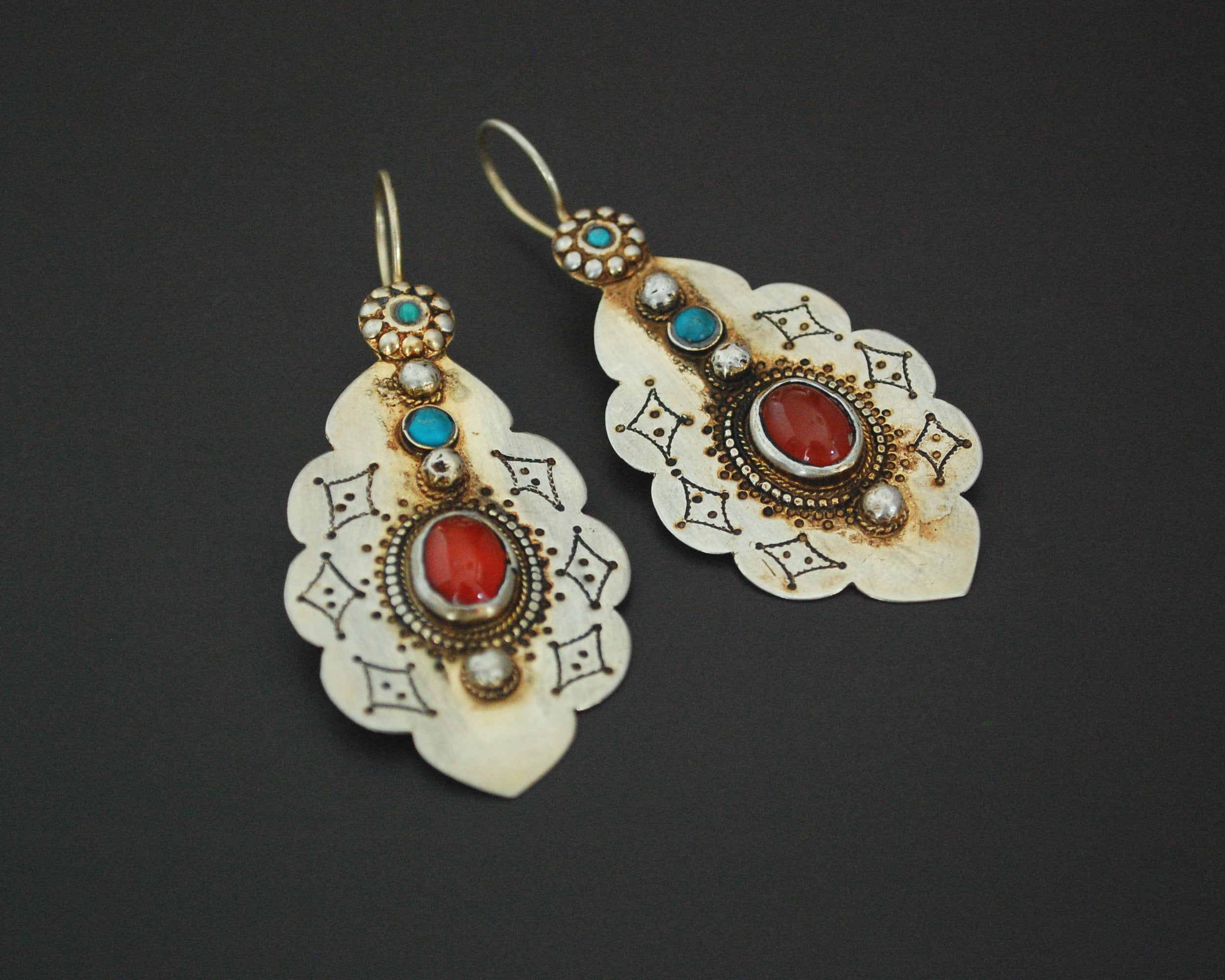 Turkmen Gilded Earrings with Carnelian and Turquoise
