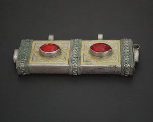 Turkmen Gilded Box Pendant with Red Glass