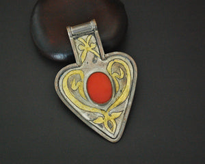 Turkmen Gilded Asyk Pendant with Carnelian