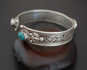 Nepali Coral Turquoise Cuff Bracelet with Filigree Work
