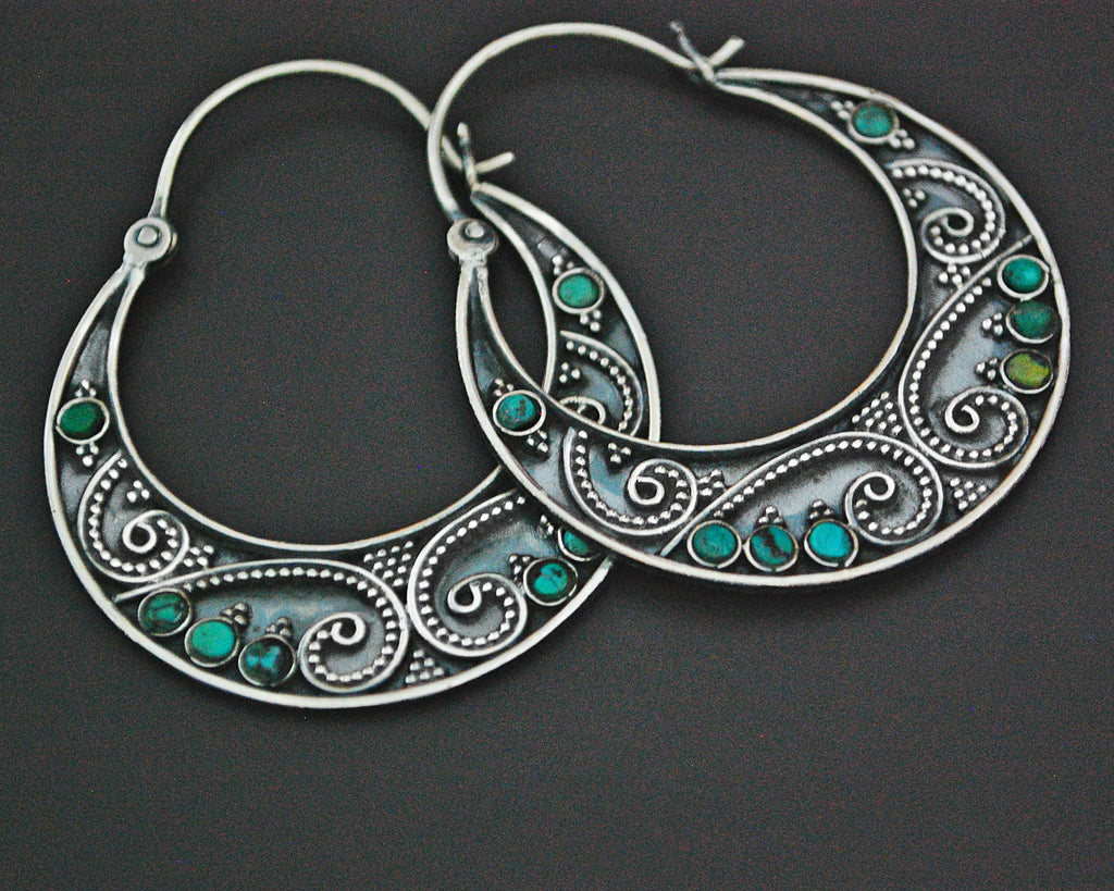 Ethnic Hoop Earrings with Turquoise and Dotwork