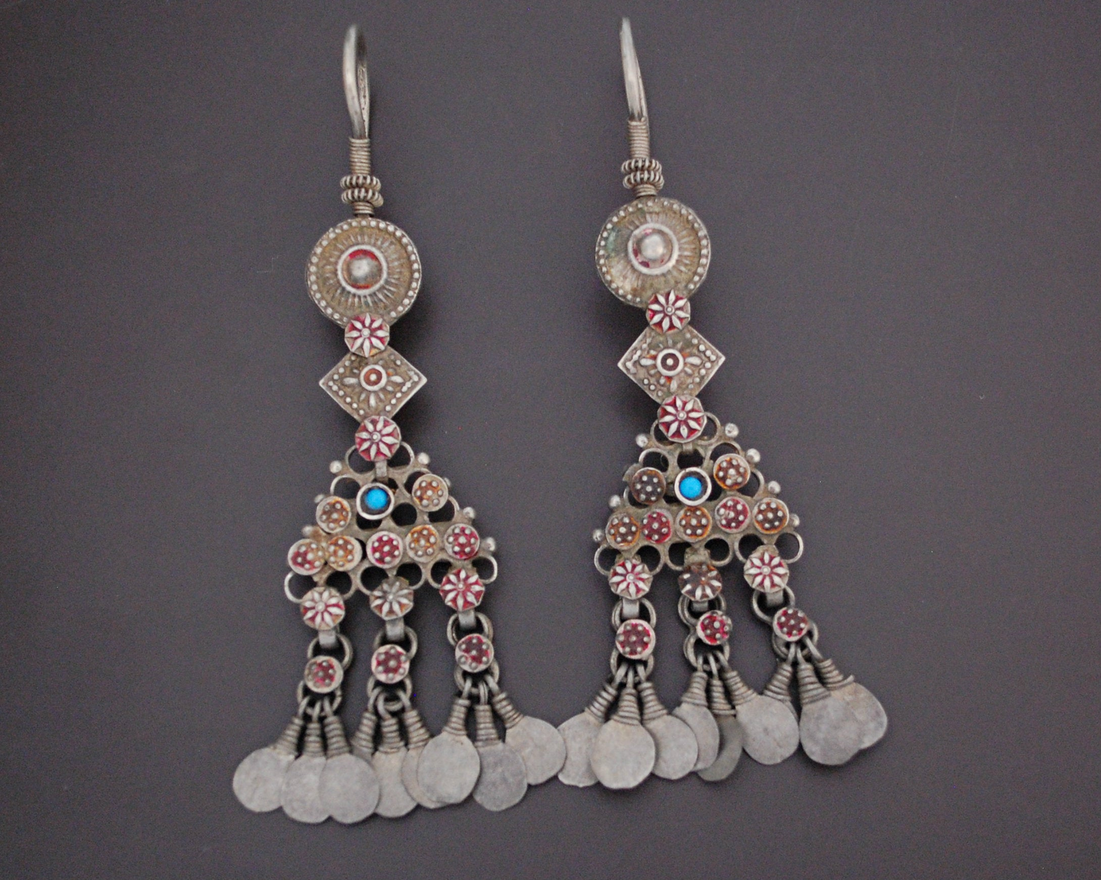 Large Antique Afghani Earrings with Turquoise