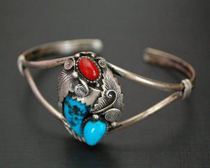 Navajo Turquoise Coral Claw Cuff Bracelet