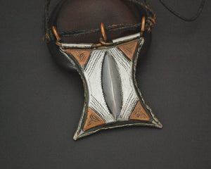 Tuareg Tcherot Amulet Necklace on Leather Cord