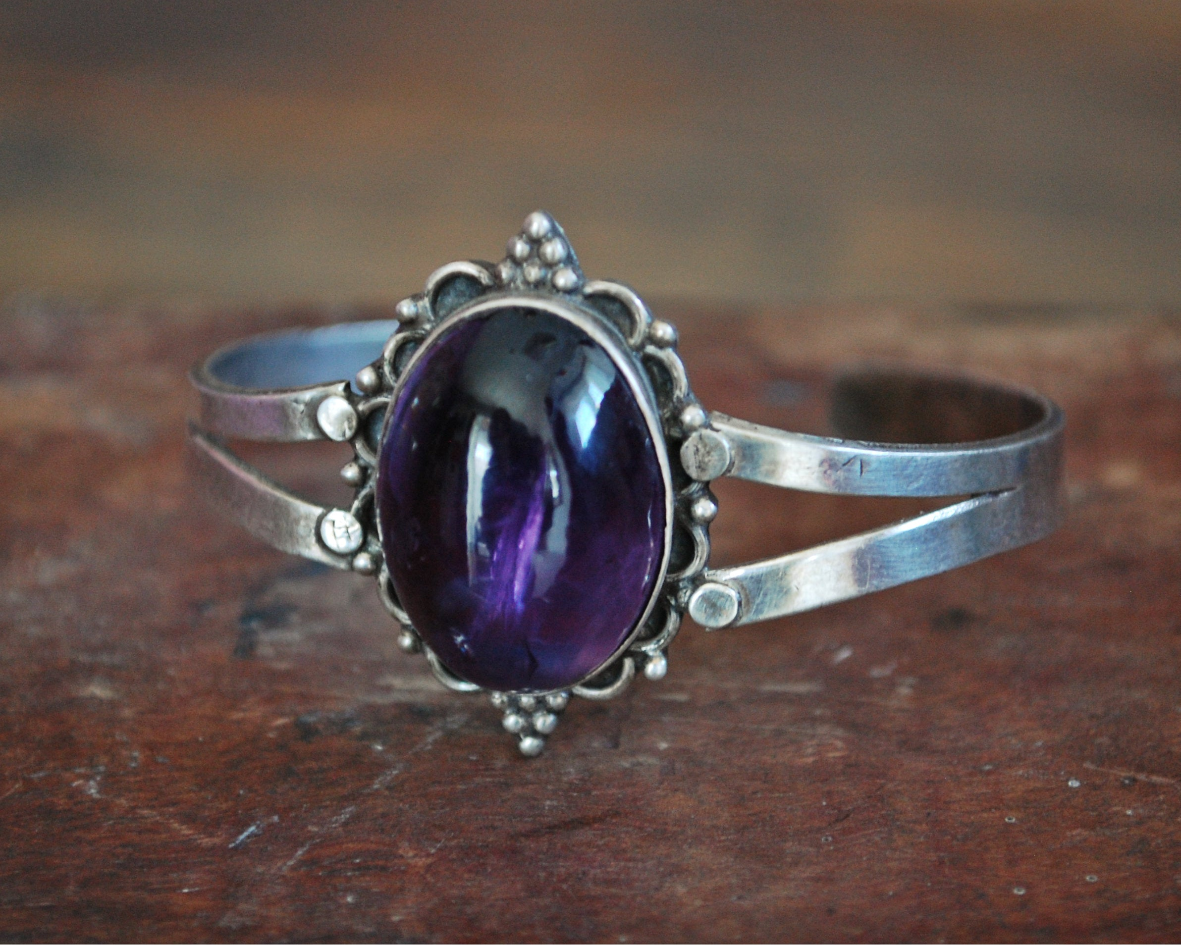Ethnic Amethyst Cuff Bracelet from India