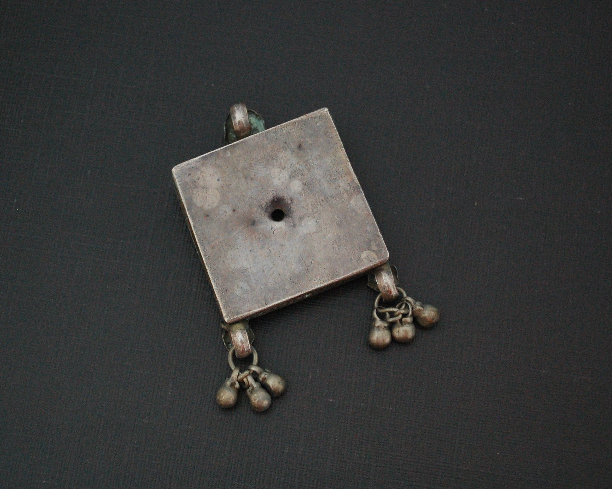 Rajasthani Silver Box Pendant with Turquoise and Bells