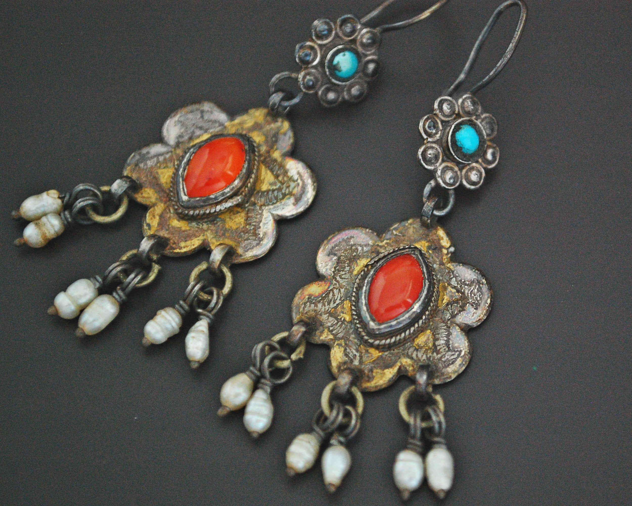 Turkmen Gilded Earrings with Carnelian, Pearls and Turquoise