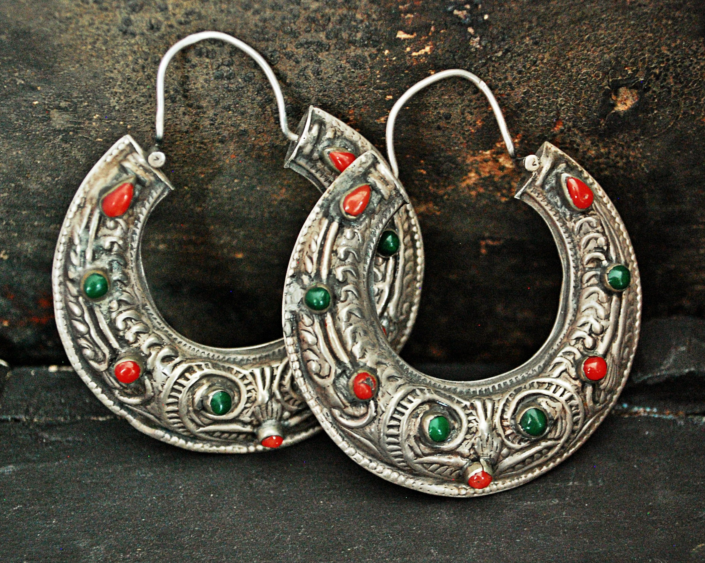 Stunning Ethnic Hoop Earrings with Coral, Carnelian and Malachite