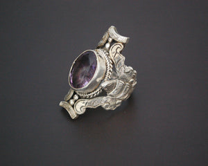 Nepali Amethyst Saddle Ring - Size 6