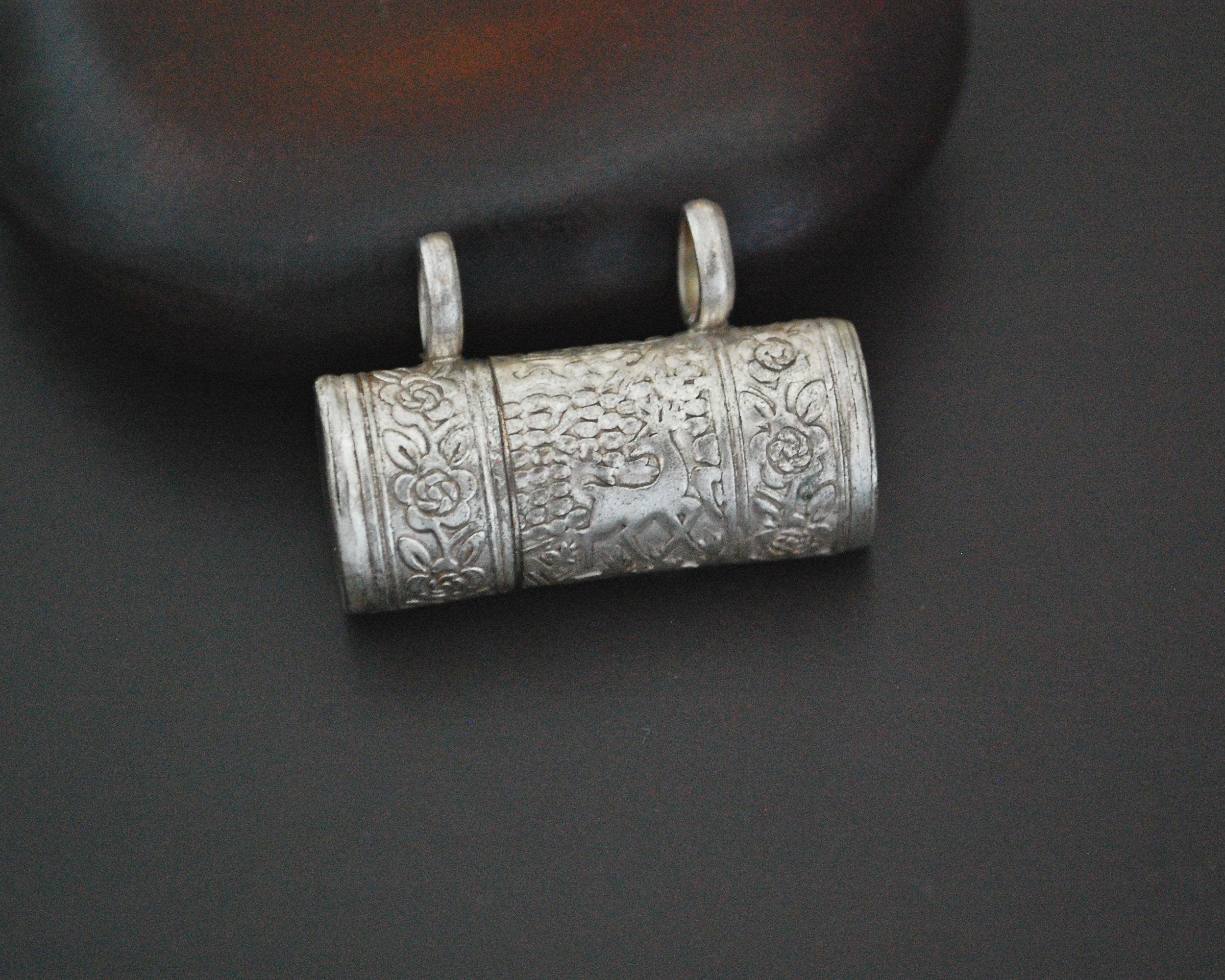 Openable Silver Box Amulet Pendant with Deer and Flowers