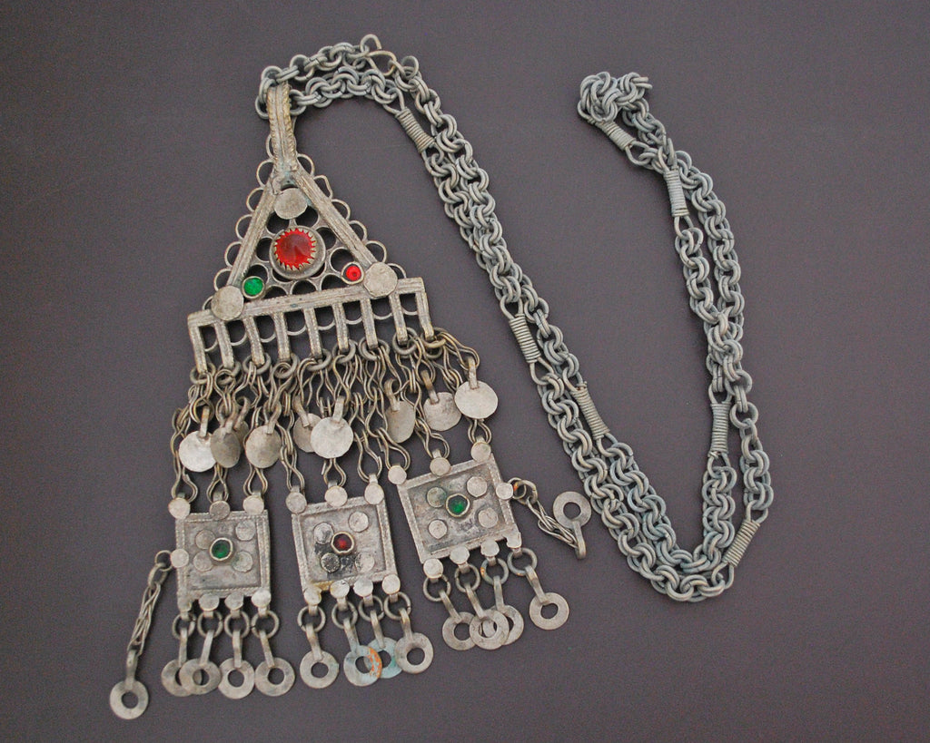 Afghani Kuchi Necklace with Glass and Tassels