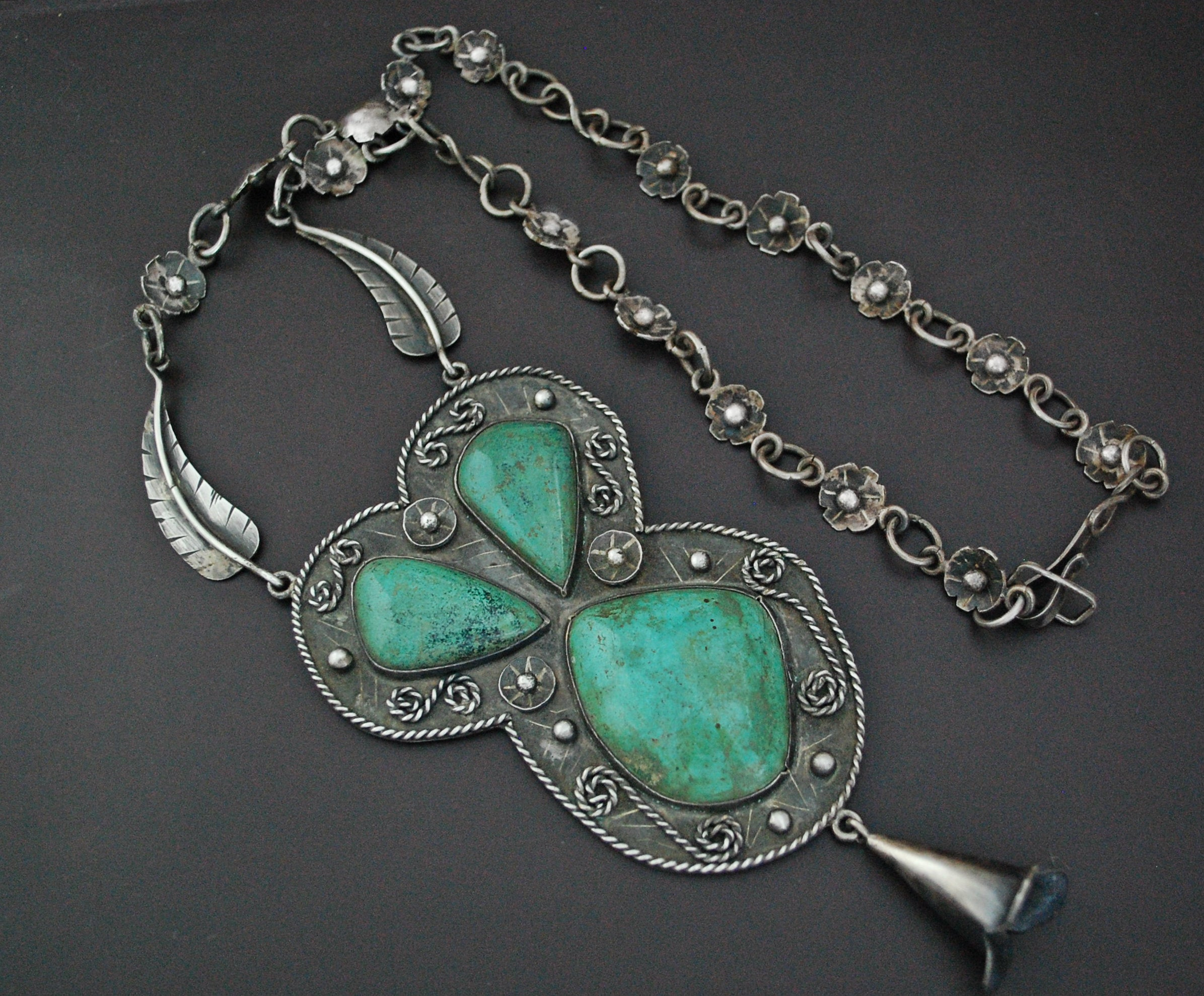 Huge Navajo Turquoise Feather Necklace