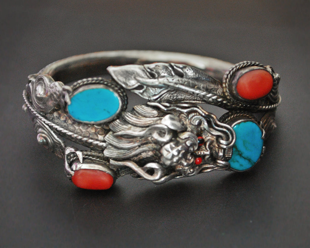 Fabulous Nepali Dragon Bracelet with Coral and Turquoises