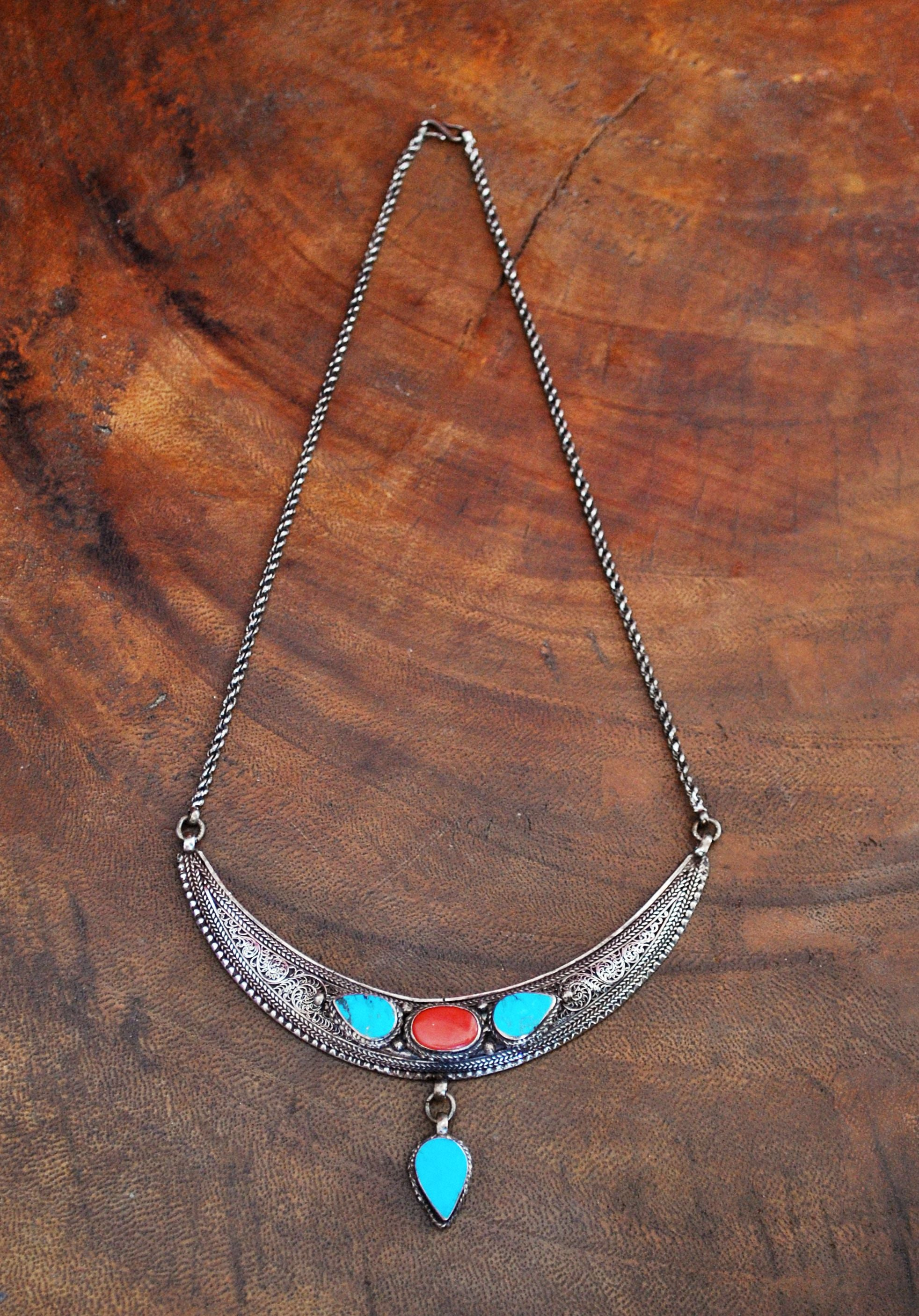 Nepali Crescent Moon Necklace with Coral and Turquoise