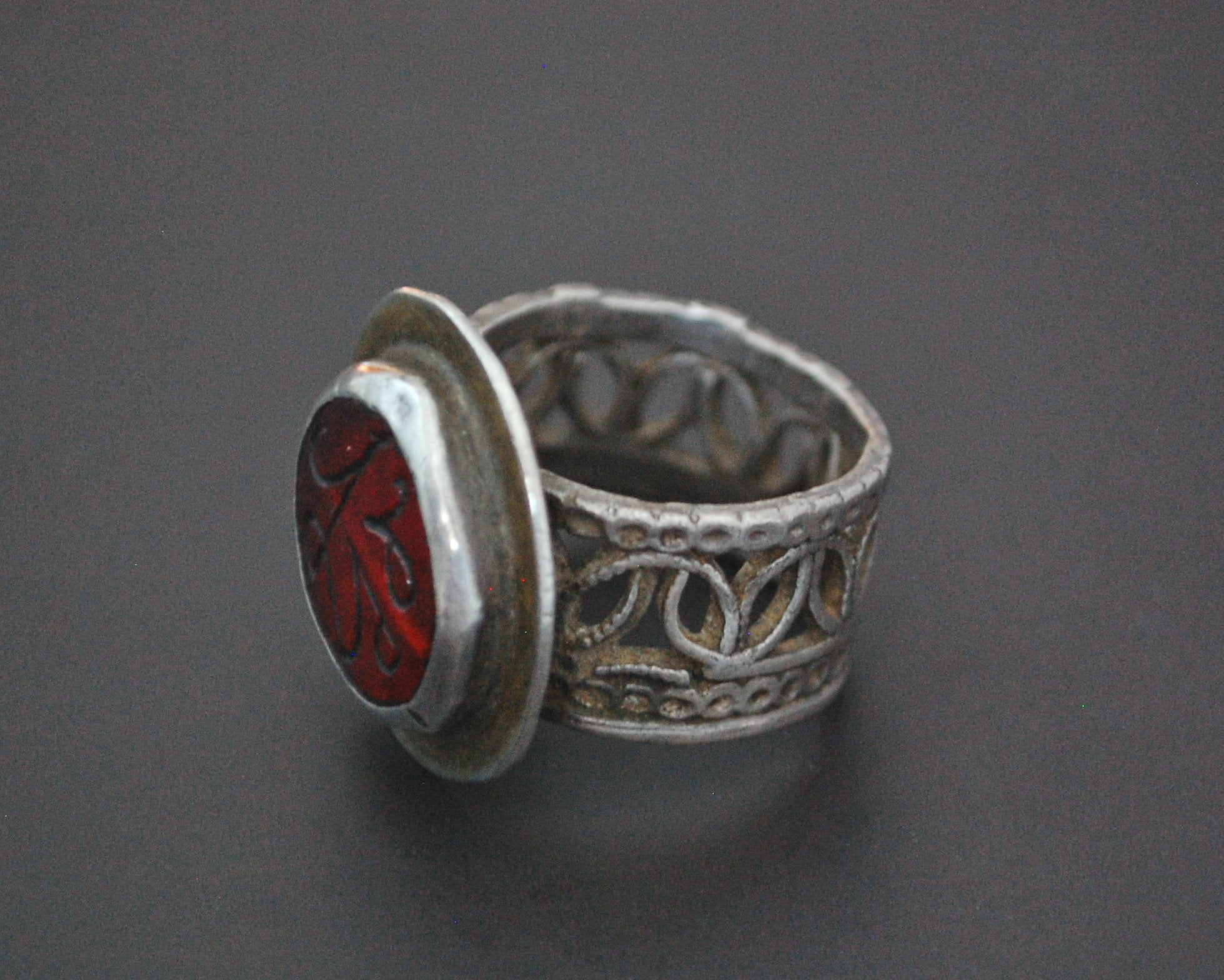 Afghani Silver Ring with Red Glass and Ornate Band - Size 7.5
