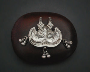 Rajasthani Silver Flower Pendant with Bells