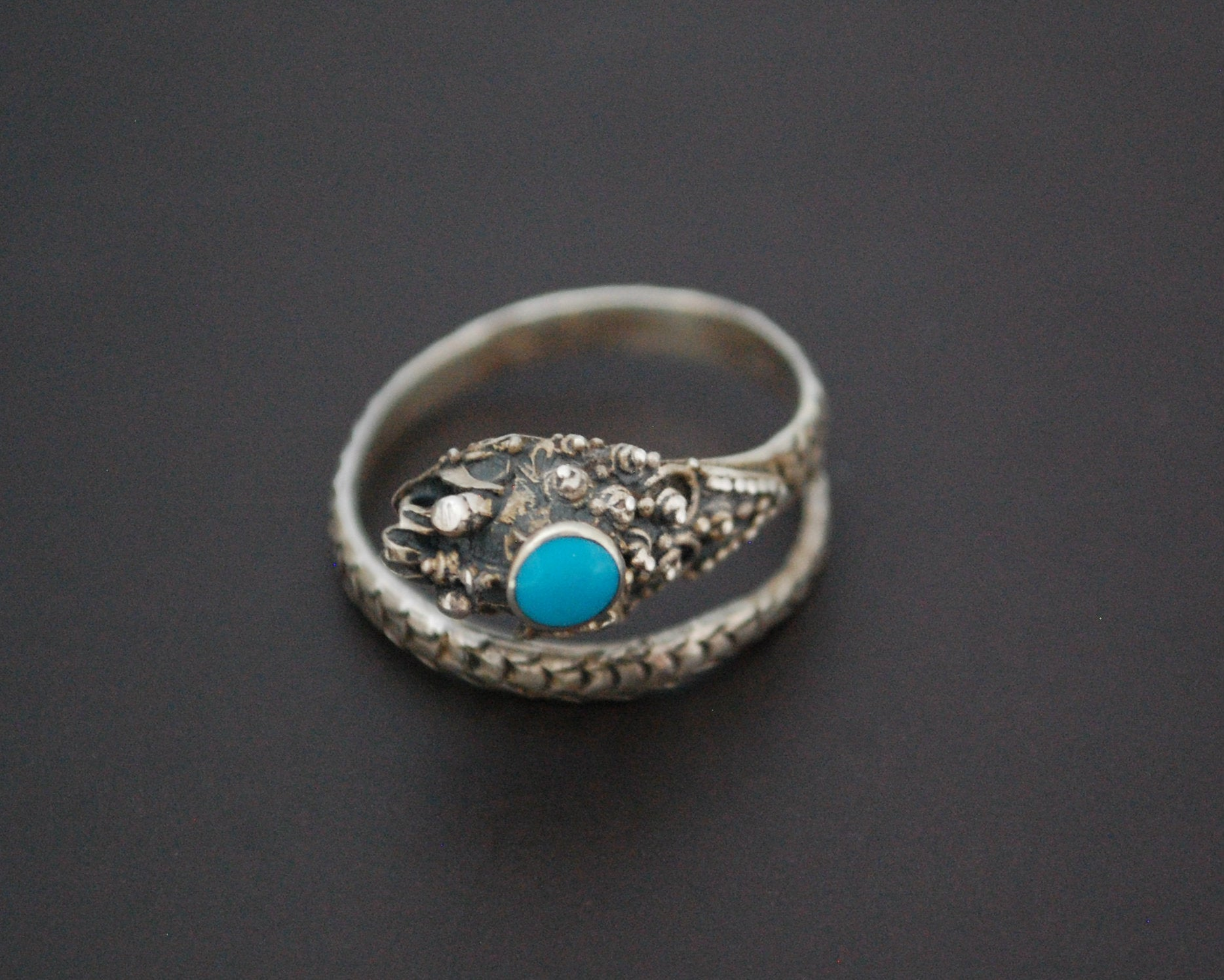 Dragon Turquoise Ring from Bali - Size 7 and Adjustable