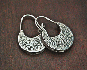 Ethnic Sterling Silver Carved Hoop Earrings